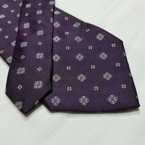 100% Silk JOS A BANK Purple/Blue/Tan Tie ~3.25""